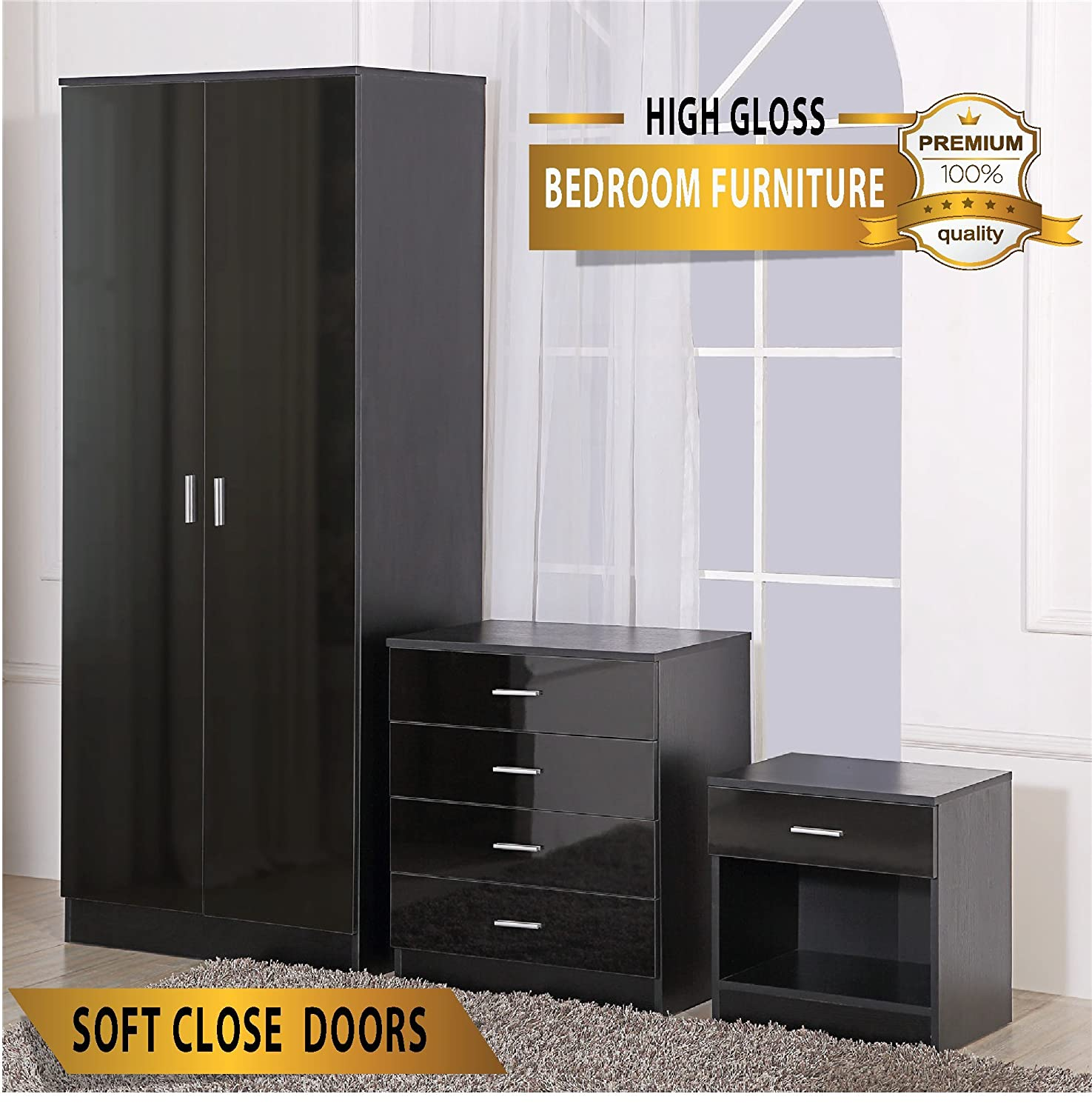 OSSOTTO HIGH GLOSS 3 Piece Bedroom Furniture Set Includes Soft