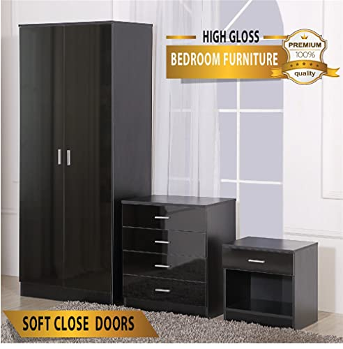Harmin Ltd OSSOTTO HIGH GLOSS 3 Piece Bedroom Furniture Set - Includes Soft Close Wardrobe, 4 Drawer Chest & Bedside Cabinet (Black on Black)