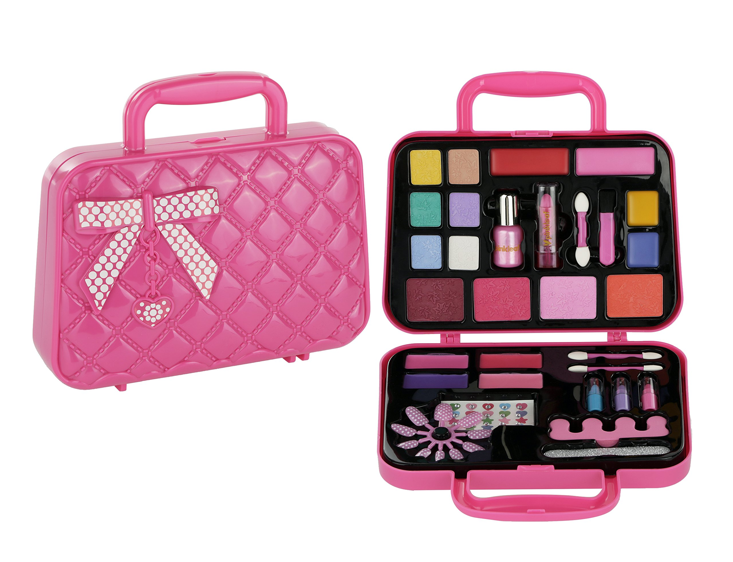 Pinkleaf Makeup Set & Nail Art Kit Duo Gift for Little Girls 3+ - Safe, Non-Toxic Kid Cosmetics, Manicure & Pedicure Tote Caboodle with Tools, Applicators & Accessories by Pinkleaf