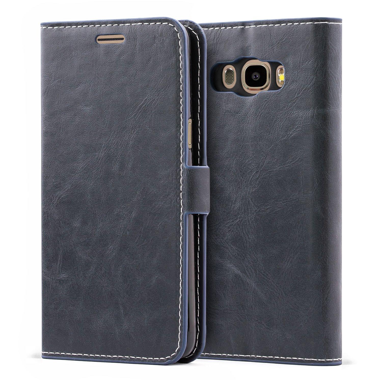 Custodia in Pelle con Portafoglio per Samsung Galaxy J5 Duos 2016 Cover Blu Notte Mulbess Custodia Samsung Galaxy J5 Duos 2016,Cover Samsung Galaxy J5 Duos 2016 Libro