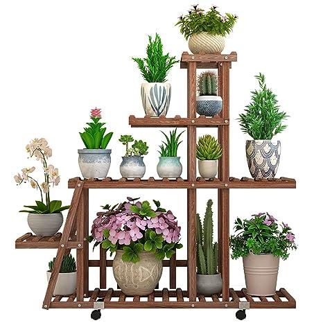 Estantes para Plantas/Estante de Madera para Colocar Flores con Ruedas Exhibición de Plantas para