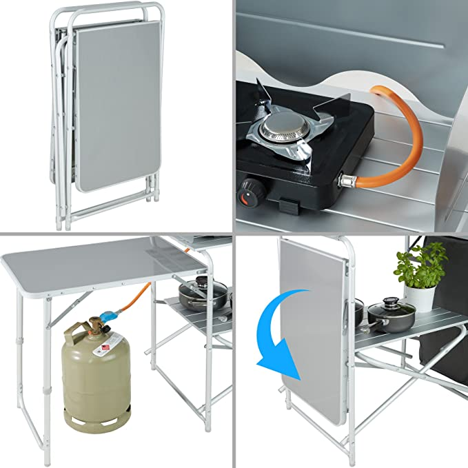 TecTake 800585 - Cocina de Camping, Aluminio, Ligera, Plegable - Varios Modelos (Tipo 1 | No. 402919): Amazon.es: Deportes y aire libre