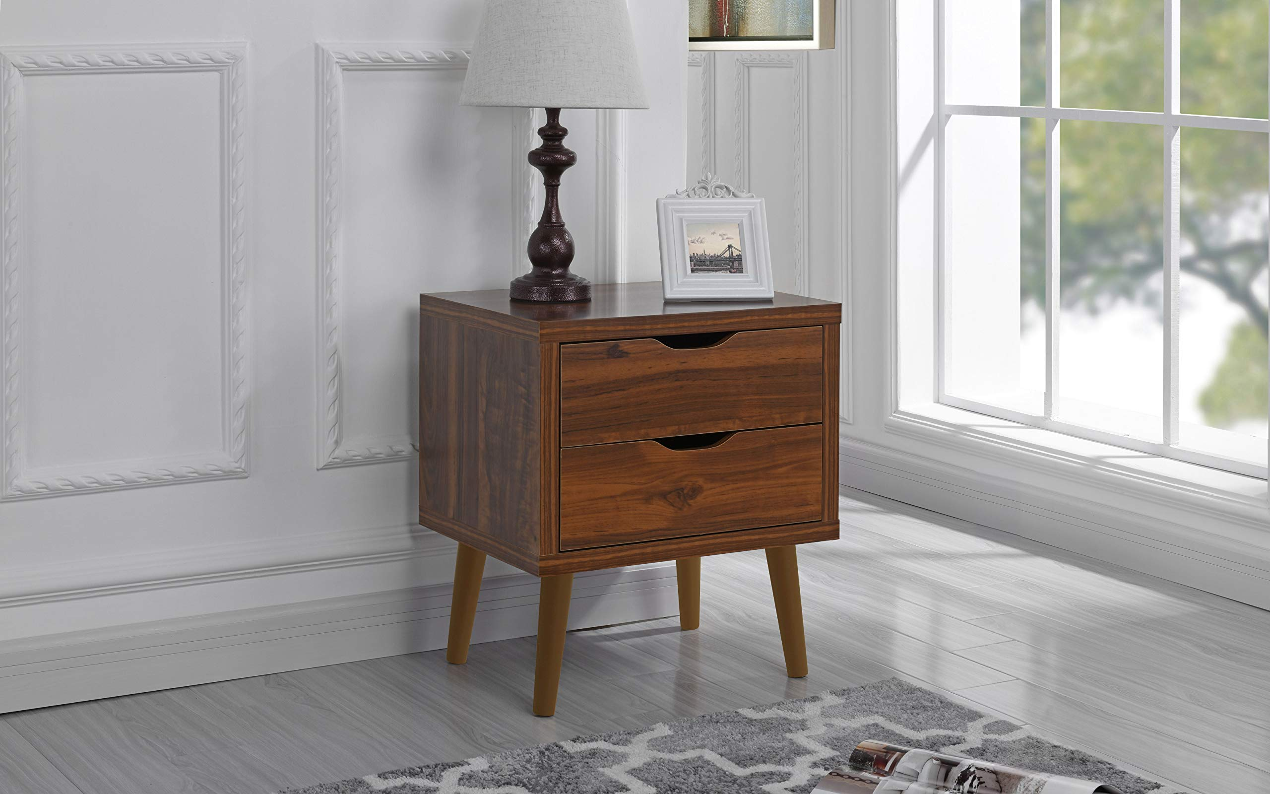 Mid Century Modern Nightstand/Side Table with 2 Drawers (Brown)