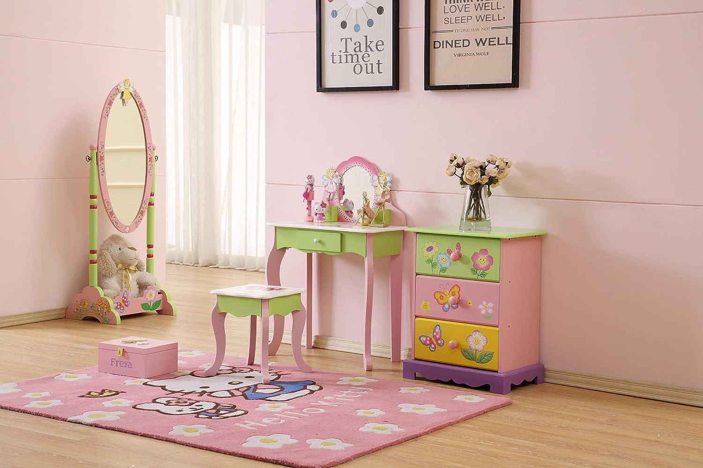 Tavolo da toeletta per ragazze WODENY Set tavolo da toeletta per bambini Set di sgabelli da tavolo Sedia da toeletta per bambini Tavolo da toeletta per bambini con specchio e sgabello