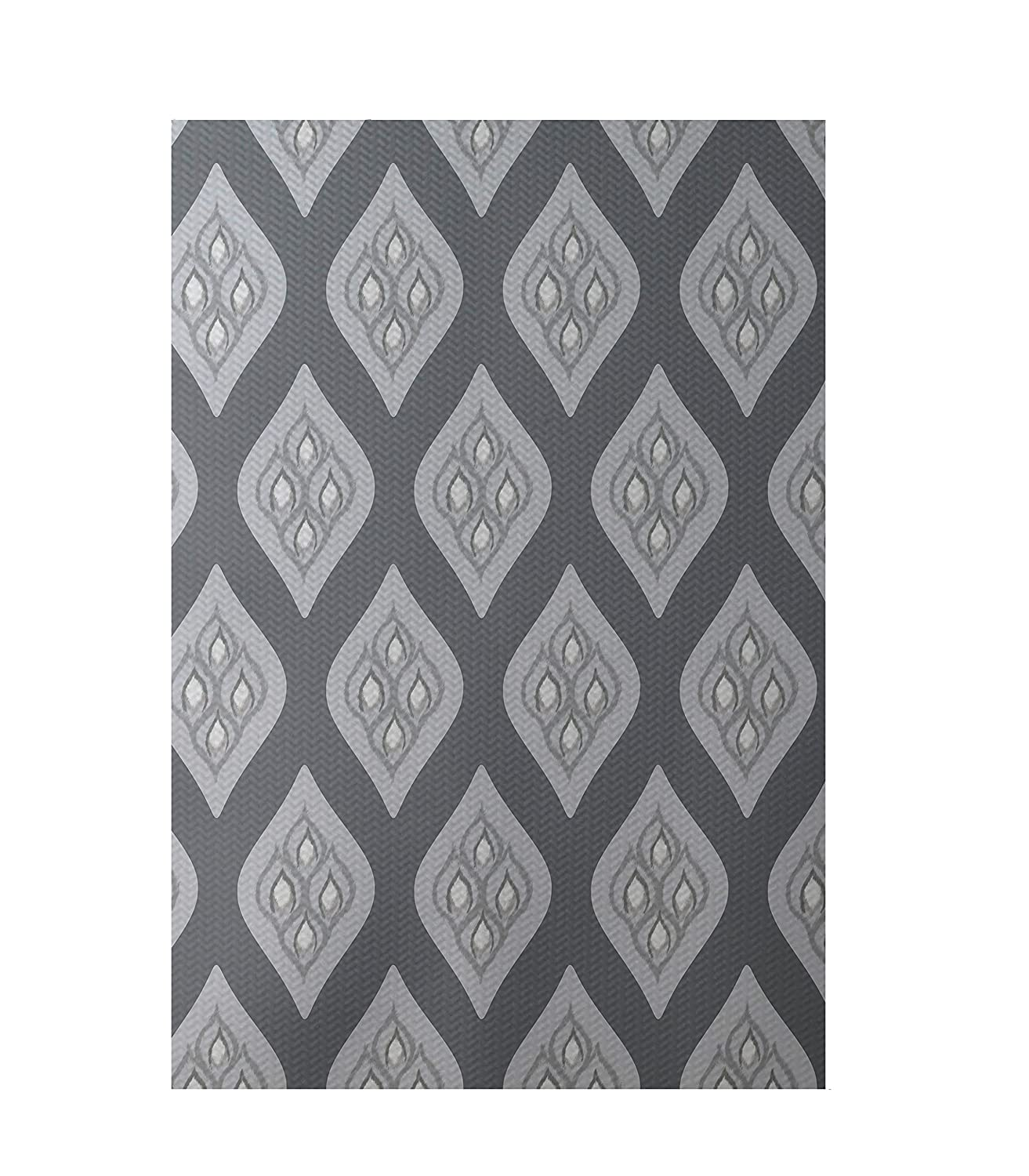 E by design RGN217GY3GY1-23 Tail Feathers Geometric Print Indoor//Outdoor Rug Steel Gray