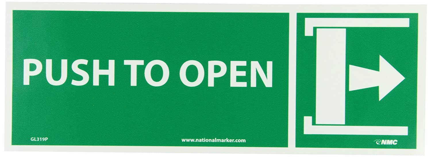 Legend SLIDE TO OPEN with Right Arrow Graphic NMC GL319R Fire Sign 14 Length x 5 Height Yellow on Green Glow Rigid