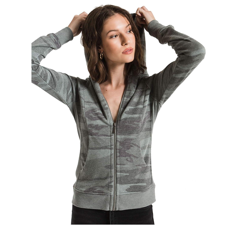 Z Supply Clothing Womens Loft Camo Zip Up Hoodie