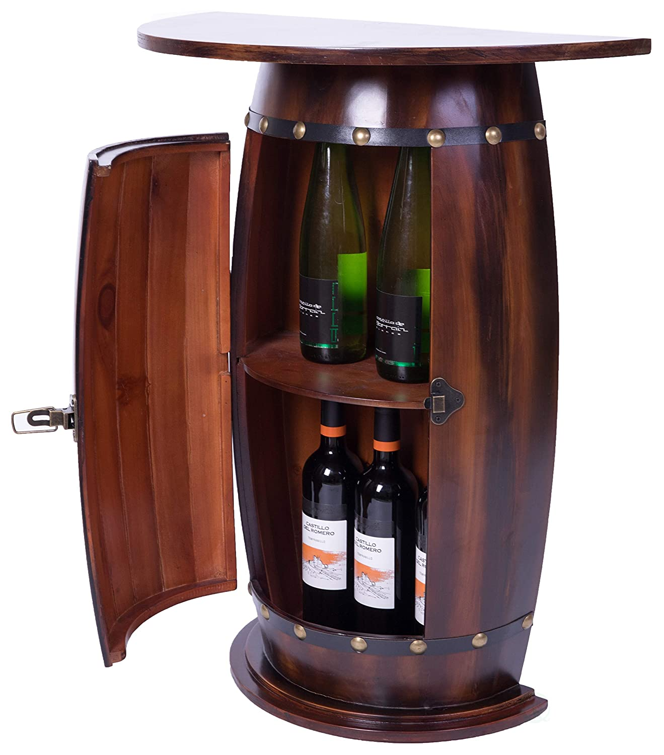 Vintiquewise QI003403L Bar End Table Lockable Cabinet Wooden Wine Barrel Console, 30 in. Tall