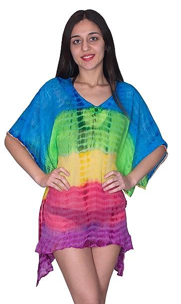 bdea0c3e7f SUNROSE Multi Tie Dye Printed Swim Beach Kaftan Caftan Cover up:  Amazon.co.uk: Clothing