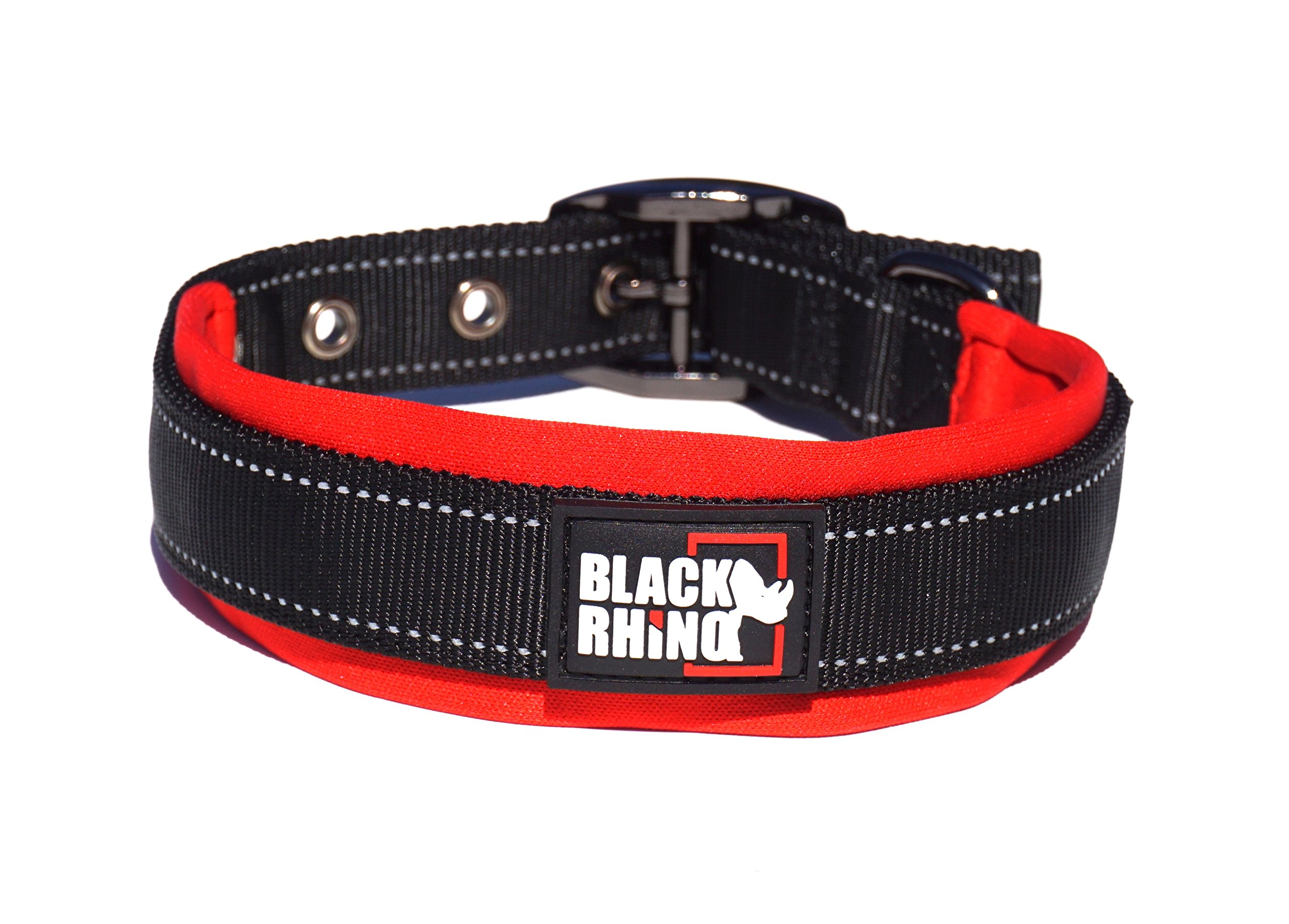 Black Rhino - The Comfort Collar Ultra Soft Neoprene Padded Dog Collar for All Breeds - Heavy Duty Adjustable Reflective Weatherproof (Large, Red/Black)