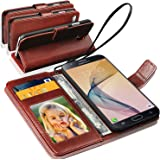 N+ India Samsung Galaxy J7 Prime Rich Leather Stand Wallet Flip Book Pouch Soft Phone Bag Antique Leather Case Brown