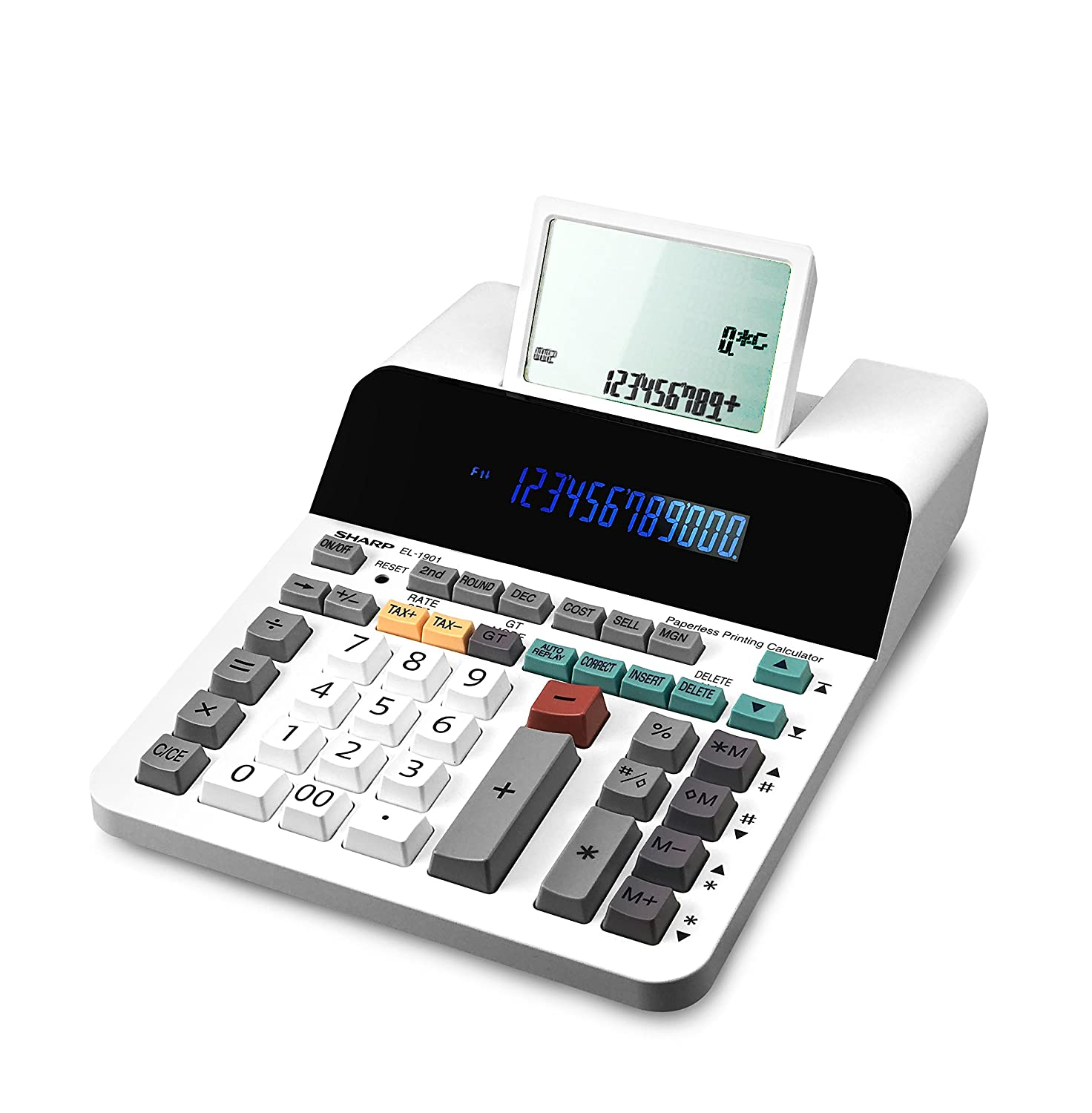 Sharp EL-1901 Paperless Printing Calculator with Check and Correct, 12-Digit LCD Primary Display, Functions the Same as a Printing Calculator/Adding Machine with Scrolling LCD Display Instead of Paper