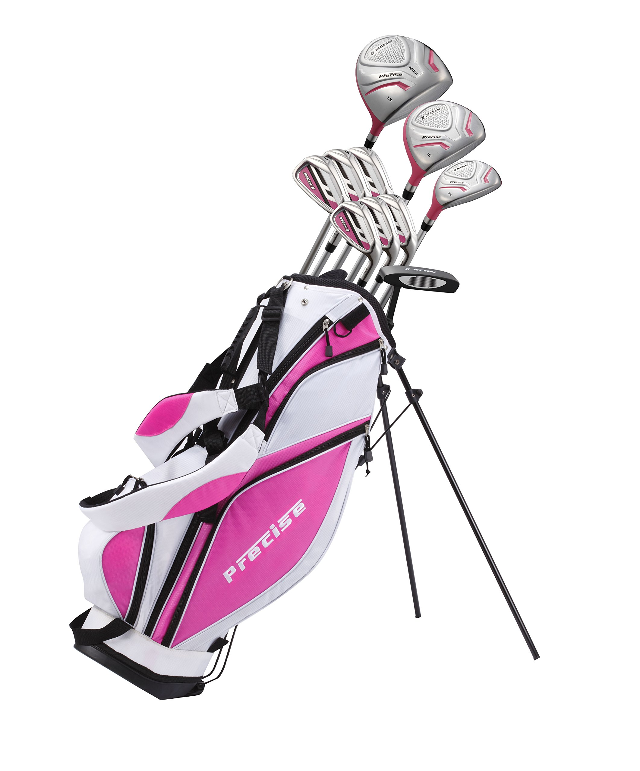Precise Premium Ladies Womens Complete Golf Clubs Set Includes Driver, Fairway, Hybrid, S.S. 5-PW Irons, Putter, Stand Bag, 3 H/C's - 2 Colors Available! (Pink, Right Hand)