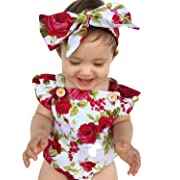 LOliSWan Newborn Kids Baby Girls Clothes Floral Outfits Set Lace Romper Suit Baby Headband (White, 9-12 Months)