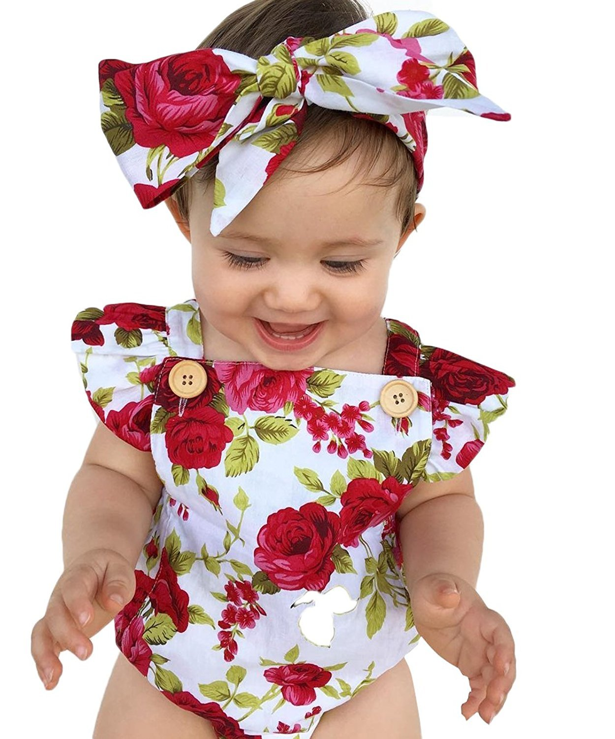 LOliSWan Newborn Kids Baby Girls Clothes Floral Outfits Set Lace Romper Suit Baby Headband (White, 6-9 Months)