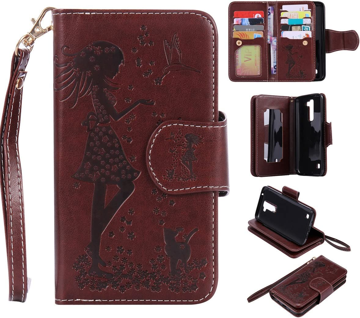 LG K7 Case, LG Tribute 5 Case, Love Sound [Cat Girl/Brown] [Wrist Strap] [Cosmetic Mirror] Luxury PU Leather Wallet Case Flip Cover Built-in 9 Card Slots Stand for LG K7/LG Tribute 5