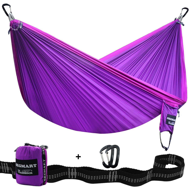 segmartキャンプhammock- Easy Hangingダブルハンモックのツリーストラップ&カラビナ、600lbs B01M26GCF5 Violet/Lilac Violet/Lilac