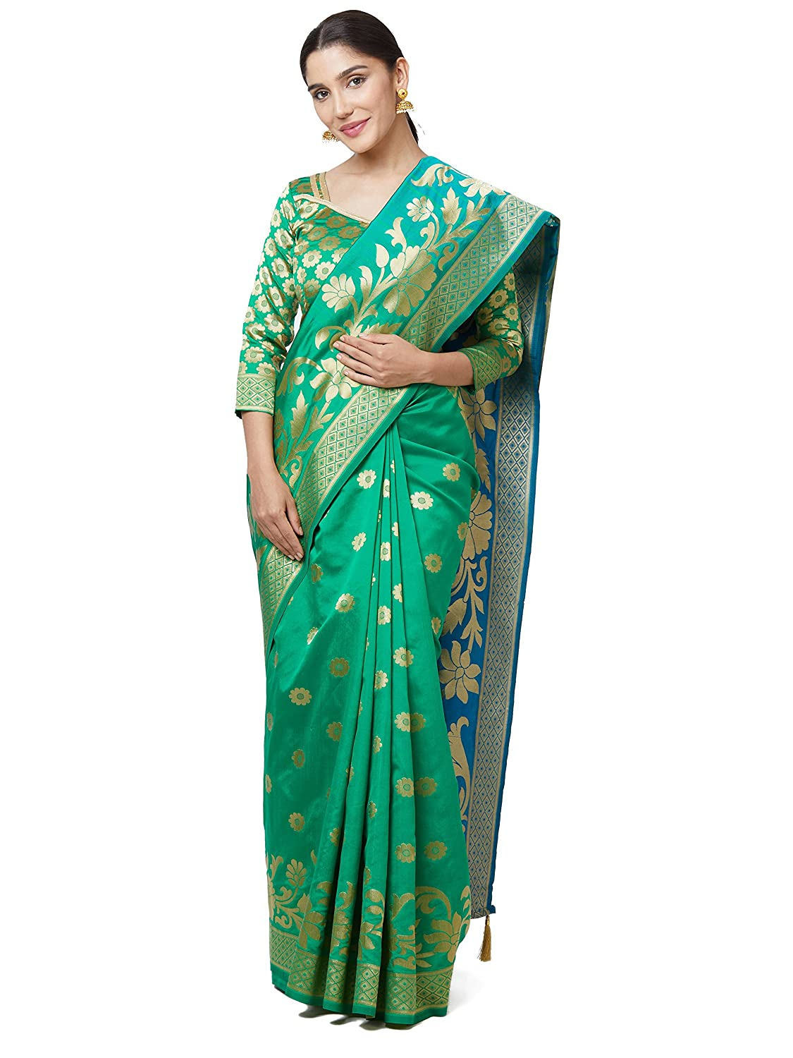 091f04e755232 SareeShop Sarees Women s Green Color Cotton Silk Jacquard Saree With Blouse    591F9AC2D8530213  Amazon.in  Clothing   Accessories