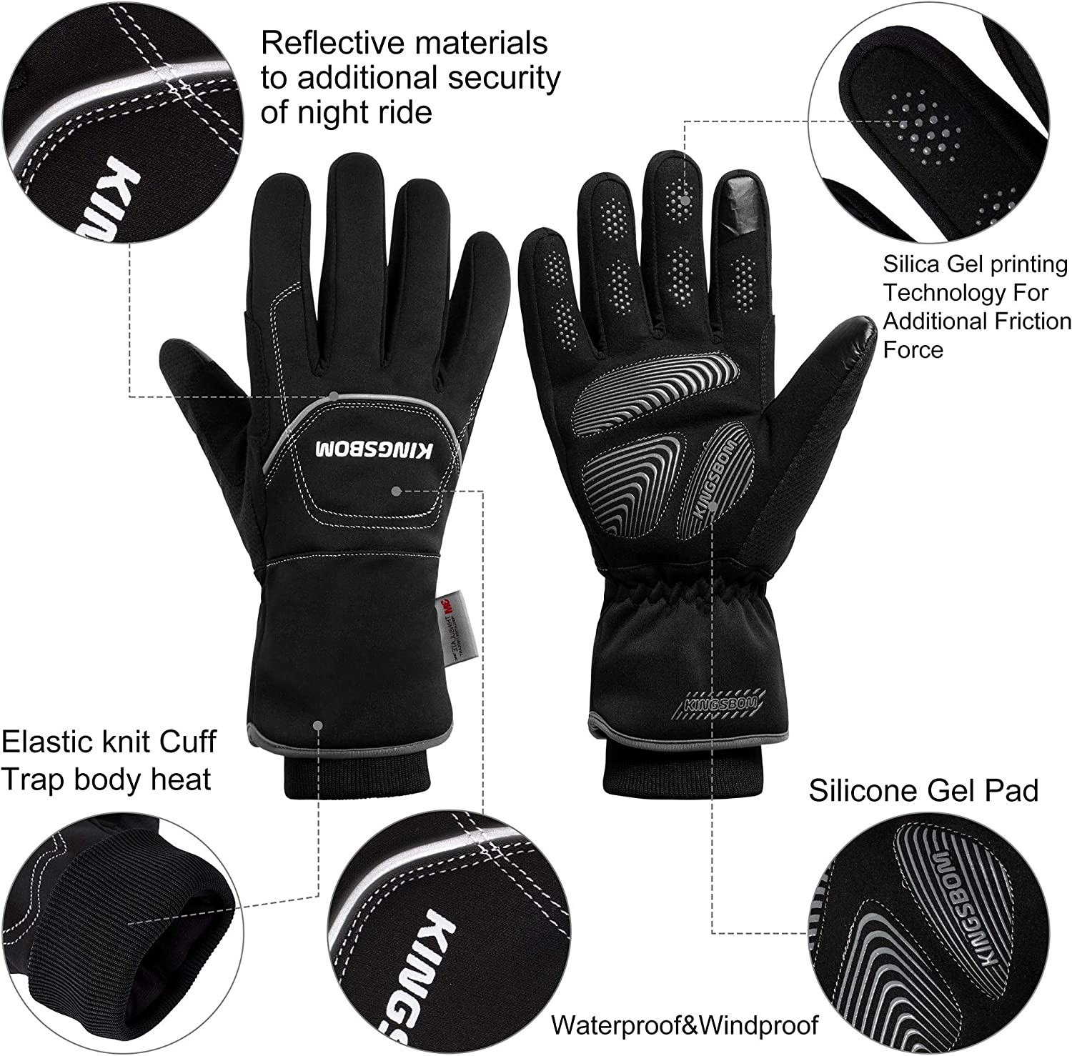 KINGSBOM Waterproof /& Windproof Thermal Gloves 3M Thinsulate Winter Touch Screen Warm Gloves For Women and Men Black For Cycling,Riding,Running,Outdoor Sports
