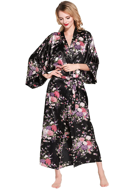 53 pollici BABEYOND Vestaglia Kimono Donna Floreale Kimono Donna Lungo Pigiama Kimono Donna Vestaglia Kimono Raso con Cintura 135 cm