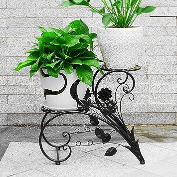 ZZHF yushizhiwujia Bastidores de almacenamiento de pie Balcón Paso Flower Pot Rack European Iron Art Sala de estar Estante de flores interiores y exteriores ...