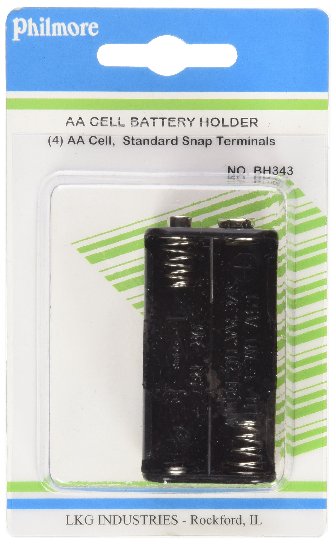 """Philmore Battery Holder for 4 """"AA"""" Cells with Snap"""