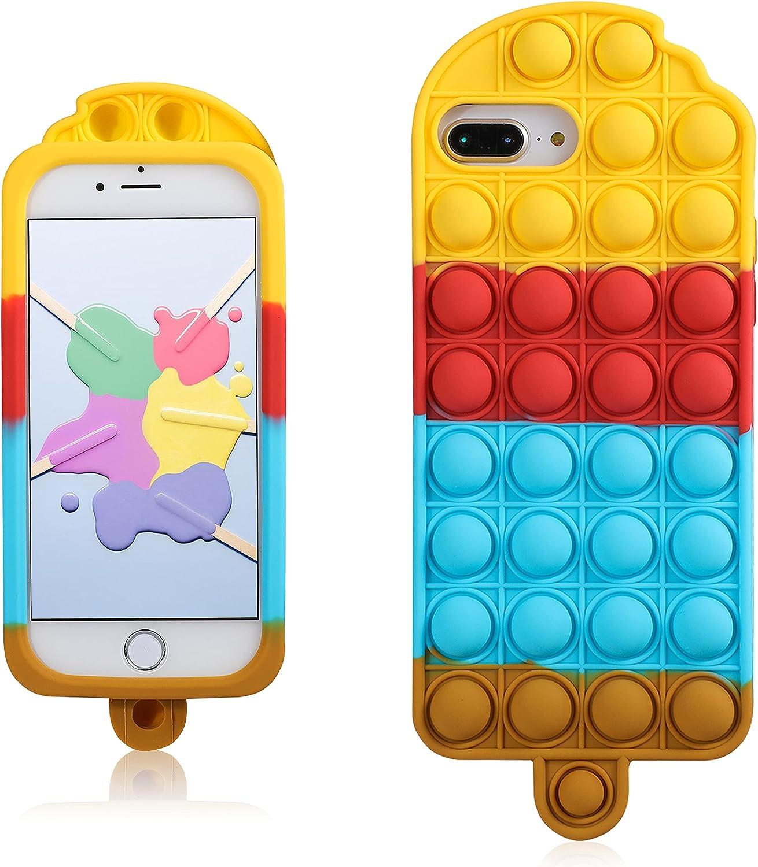 Coralogo Rainbow PopsicleCase for iPhone 6 Plus/6S Plus/7 Plus/8 Plus Cartoon Funny Kawaii Silicone Cover Fidget Unique Design Aesthetic for Girls Boys Kids Cases(for iPhone 6/6S/7/8 Plus 5.5