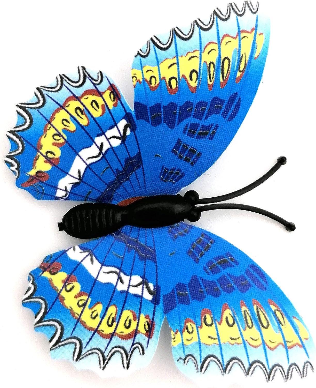 2X Blau Alexys Deko 3D Schmetterlinge Magnetisch inklusive Aufkleber Wandtatoo Wandsticker 2 Fl/ügel Wanddekorationen Dekorationen f/ür ganze Haus SF