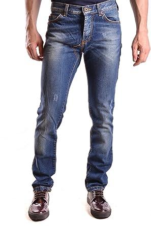 Frankie Morello Herren Mcbi125061o Blau Baumwolle Jeans