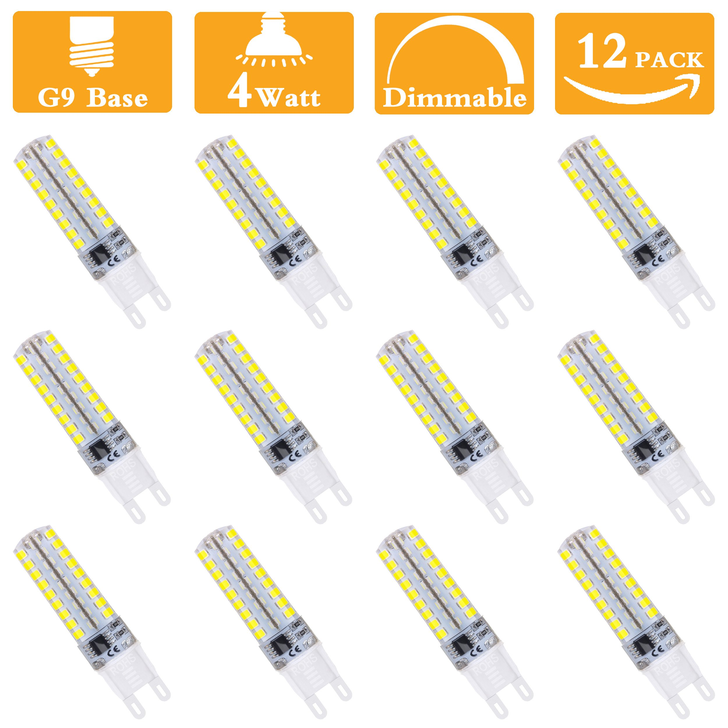 G9 LED Light Bulbs, 2700K Warm White, 360° Beam Angle,4W(40W Halogen Equivalent) Dimmable,400lm G9 base led Corn Bulb for Dining room,Coffe shop,Shopping Center,Office,Linear power supply-12 Pack