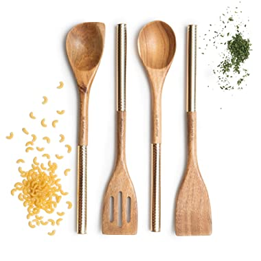 Acacia Wooden Cooking Utensils with Gold Handles - Includes Wood Serving Spoon, Wooden Corner Spoon, Wooden Spatula, Wood Turner - Perfect Multi-Purpose Cooking and Gold Serving Utensils
