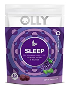 OLLY Sleep Melatonin Gummy, All Natural Flavor and Colors with L Theanine, Chamomile, and Lemon Balm, 3 mg per Serving, 30 Day Supply (60 Count)