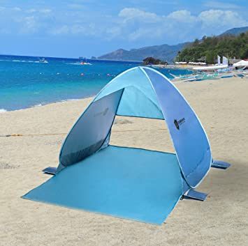 Pop Up Beach Tent with UV Protection | Cabana | Blue | Super Lightweight | Instant : beach tent uv protection - memphite.com