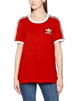 adidas 3stripes tee camiseta mujer rojo