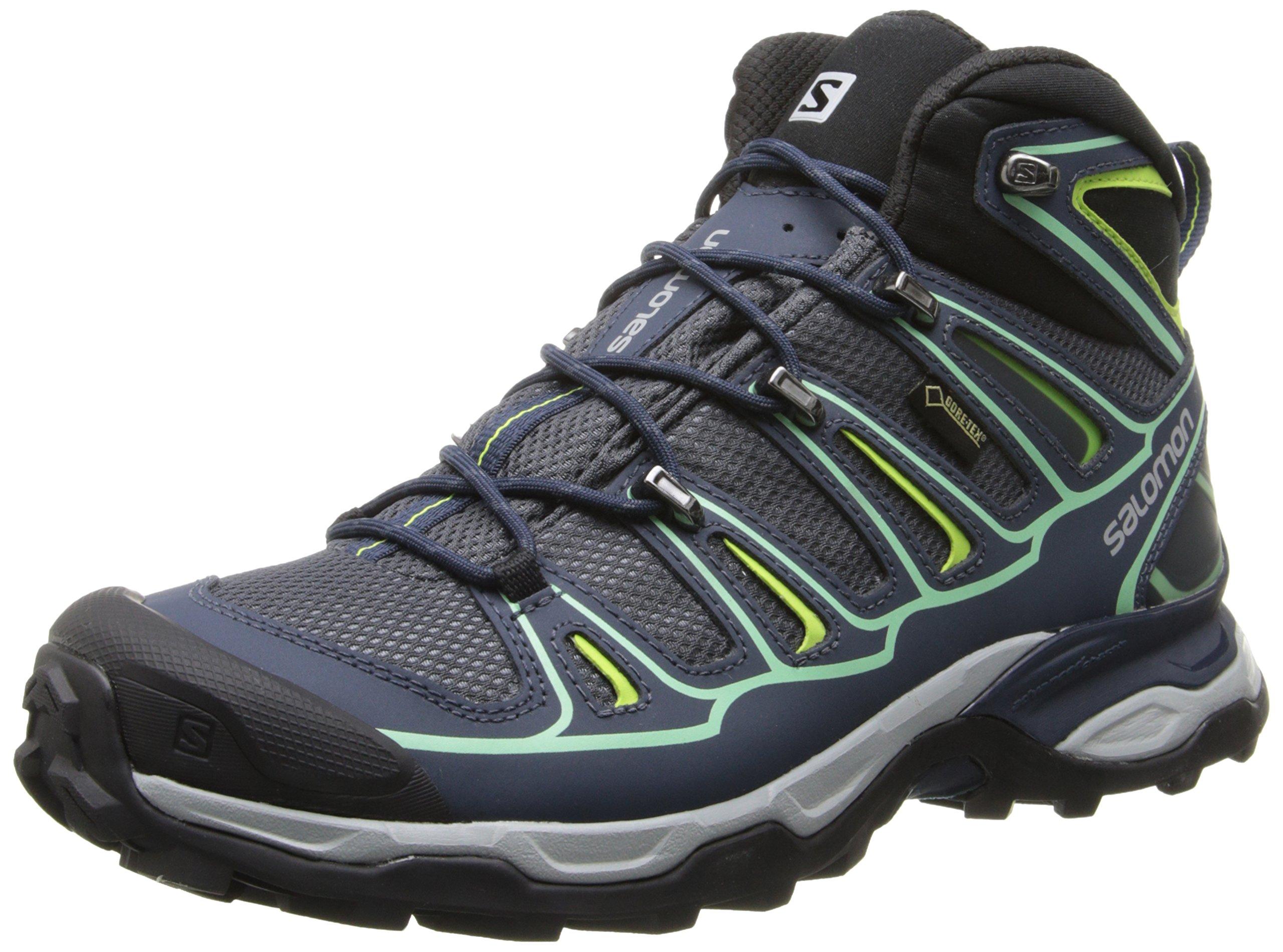 Salomon Women's X Ultra Mid 2 GTX Hiking Shoe, Grey Denim/Deep Blue/Lucite Green, 9 M US by Salomon (Image #1)