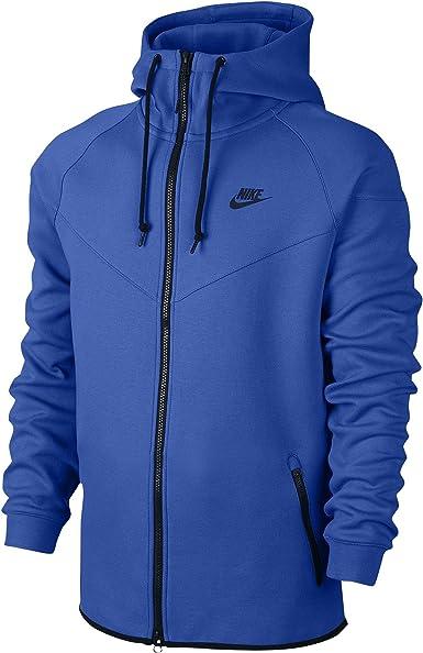 Nike Men S Tech Fleece Windrunner Hoodie Jacket Game Royal Black Medium Amazon Co Uk Clothing