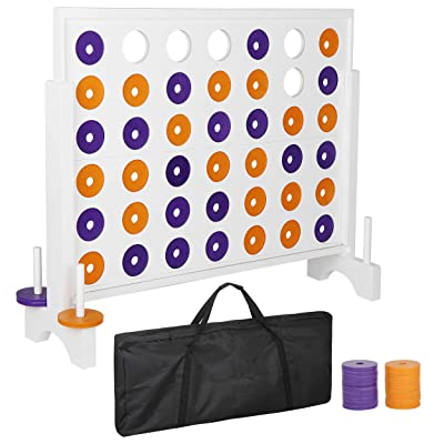Smartxchoices Giant 4 in a Row Board Game Set - 3 Foot Width - Huge 4 to Score Board Game with a Carrying Shoulder Bag, Coins for Backyard Outdoor Party Game: Toys & Games