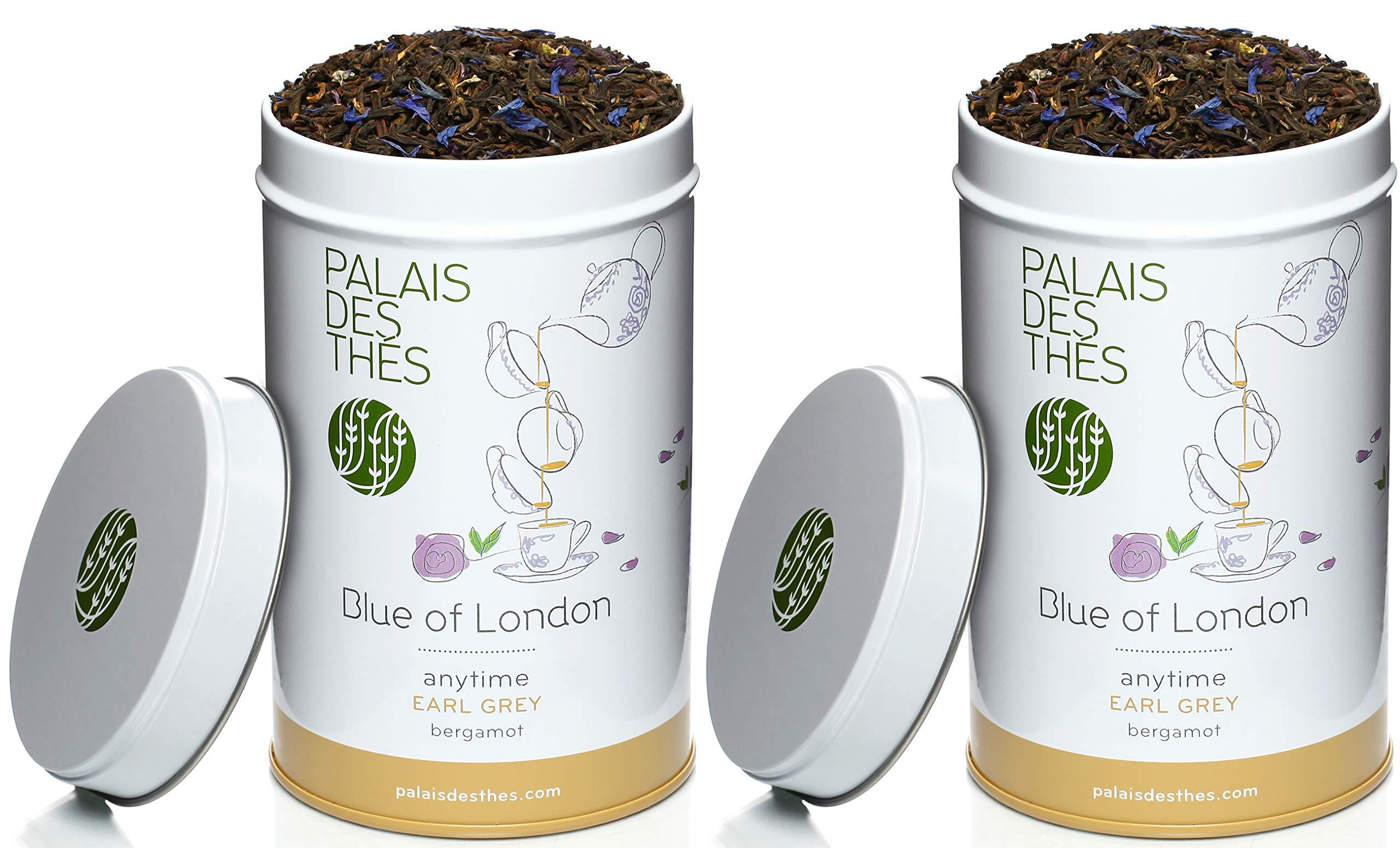 Palais des Thés Blue of London Earl Grey Tea, 3.5oz Metal Tin (2 Pack)