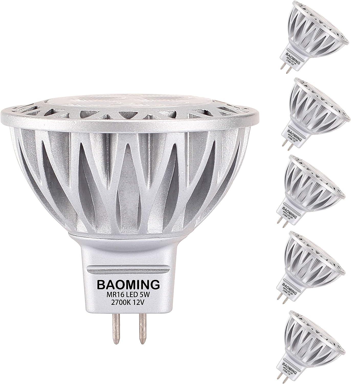Baoming Mr16 Led Bulb 5w 50 Watt Mr16 Halogen Equivalent 2700k Soft Warm White 12v Low Voltage Landscape Lighting Track Lighting Gu5 3 Base 38 Light Not Dimmable 6 Pack Home Improvement Amazon Com