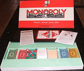 Monopoly Property Trading Game By Waddingtons Vintage Version With Wooden Houses Hotels