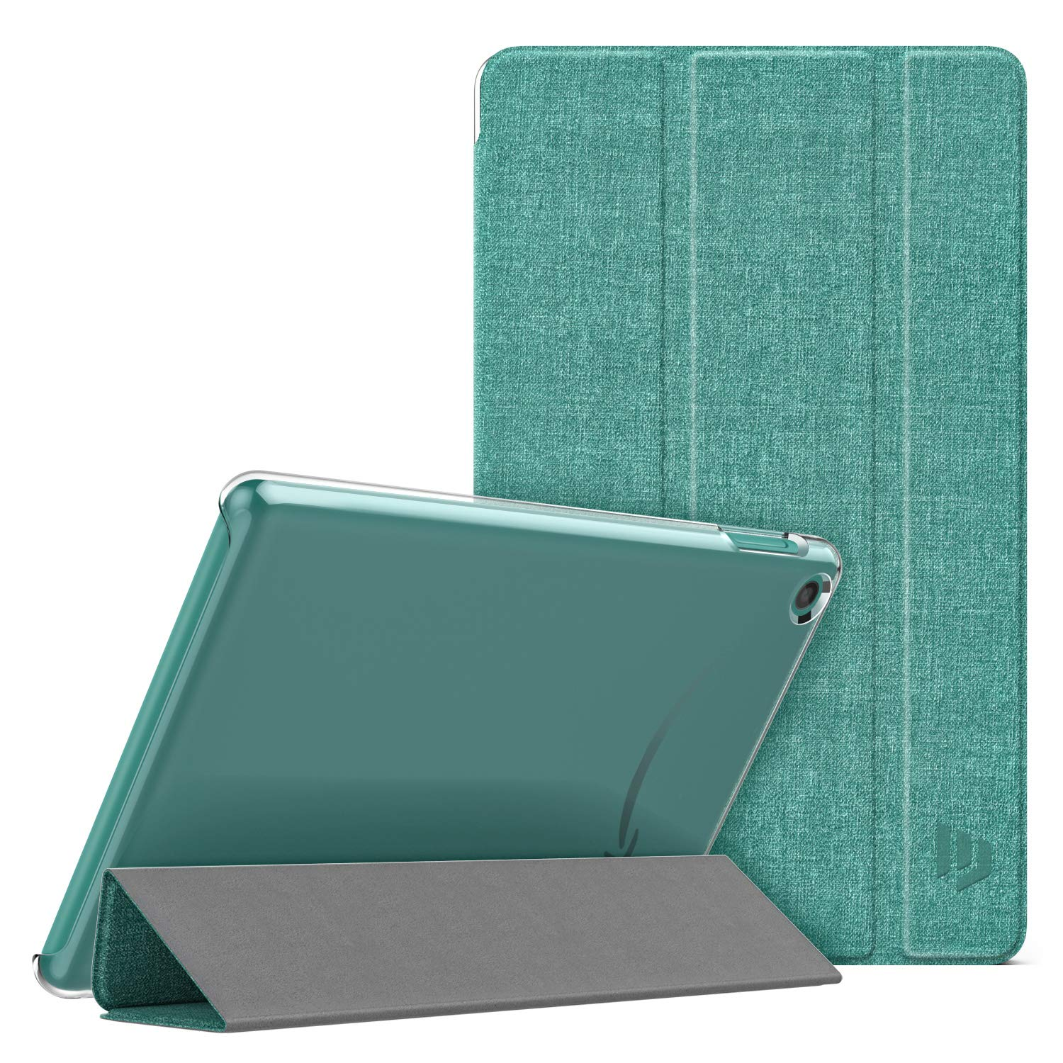 Dadanism Case Fit All New Amazon Kindle Fire 7 Tablet (9th Generation, 2019 Release), Translucent Pc Back Shell Ultra Slim Lightweight Trifold Stand Cover With Auto Sleep/Wake   Denim Sage by Dadanism