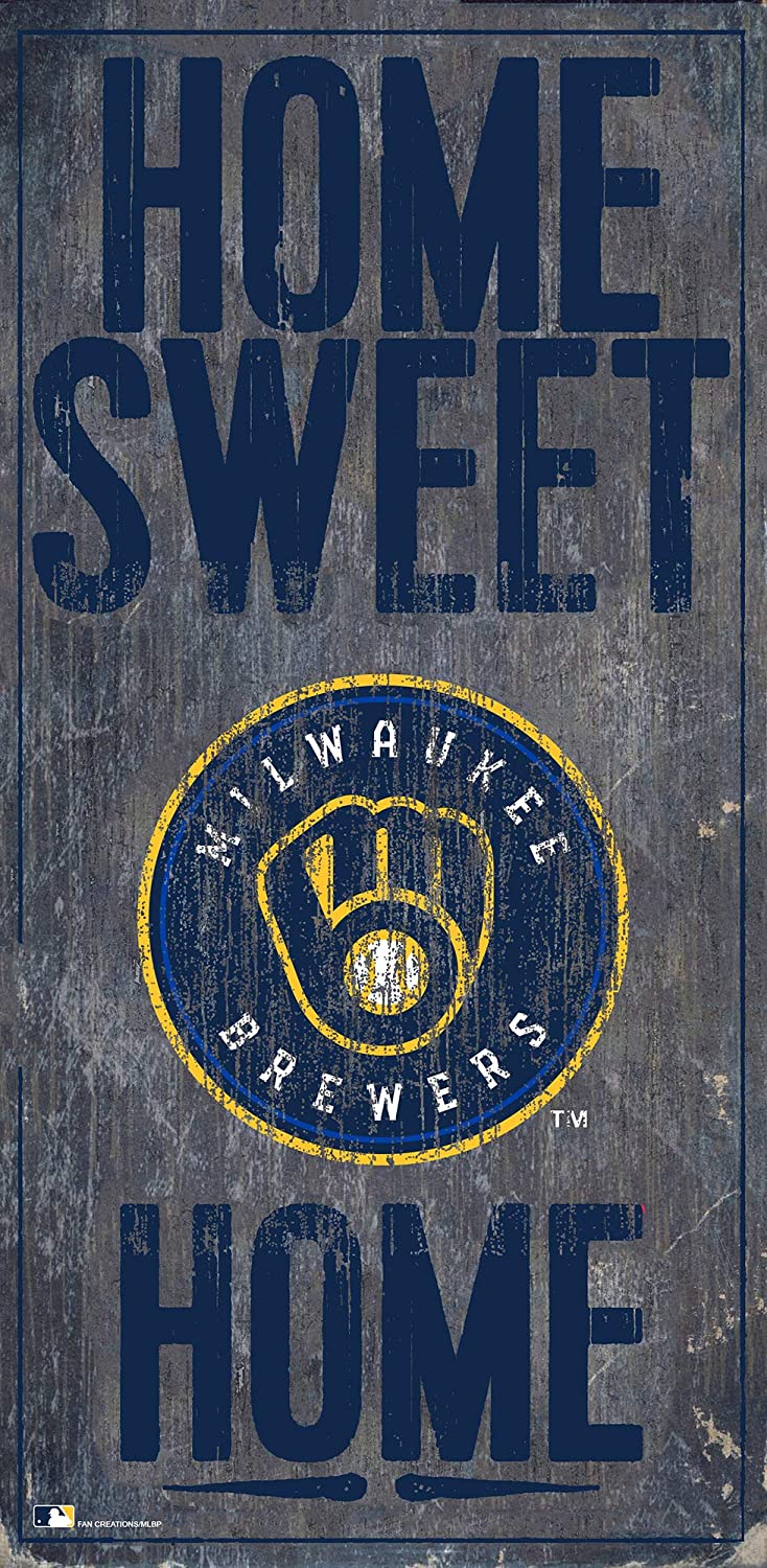 Fan Creations MLB Milwaukee Brewers Unisex Milwaukee Brewers Home Sweet Home Sign, Team Color, 6 x 12
