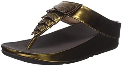 FitFlop Damen Metallic Cha Fringe Toe Thong Sandals Peeptoe