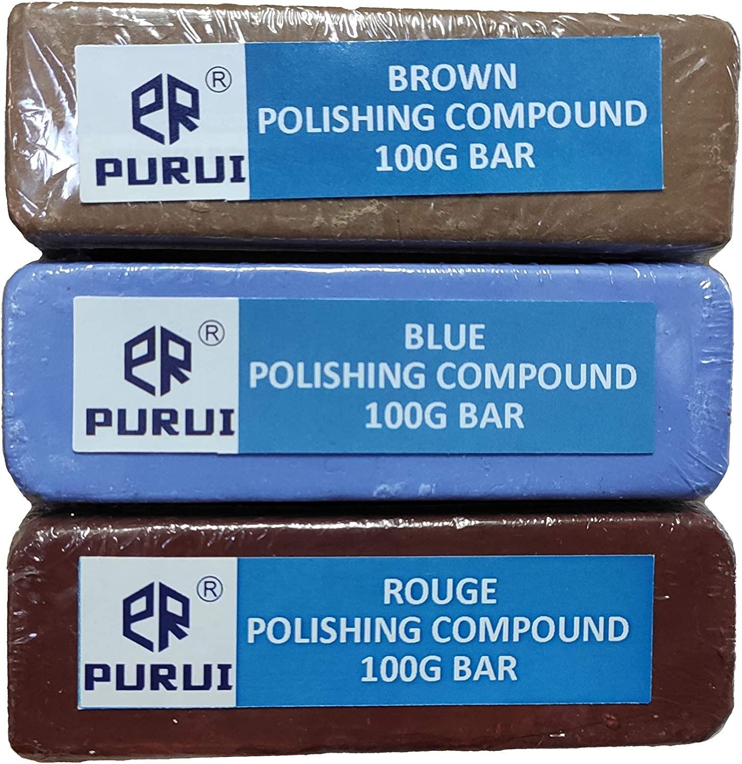 with Red Glue and Pin Hole Center-Brown,Blue,Red Rouge Polishing Compound Bar-Drill Adapter for Bench Grinder or Drills 10PC PURUI 3 Buffing Polishing Wheel-Coarse 40PLY 50PLY Fine Medium 50PLY