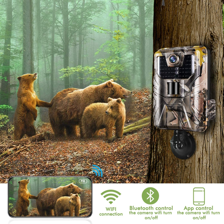 SUNTEKCAM【2021 Upgrade】 C/ámara de Caza WiFi Bluetooth 24MP 1296P Trail Game C/ámara con visi/ón Nocturna activada por Movimiento al Aire Libre Impermeable IP66