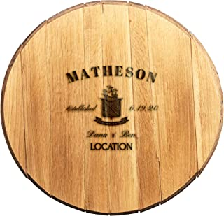 product image for WhiskeyMade Personalized Wedding Guestbook Alternative - Solid Wooden Centerpiece Made from a Real Bourbon Whiskey Barrel Head - Beautiful Decoration for Weddings - Made in The USA (Jameson)
