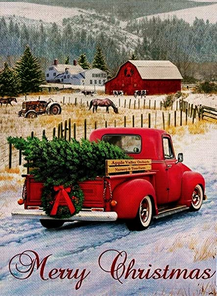 amazoncom dyrenson home decorative merry christmas garden flag xmas quote house yard flag with red truck burlap rustic winter garden yard decorations