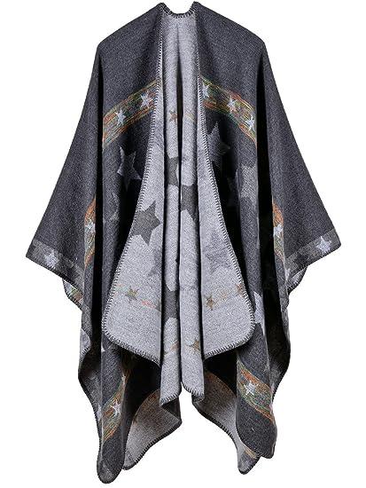 Cape Poncho Femme Foulard Couverture Chaude Vintage Rétro Châle Ouverture  Grande Taille Ample à Motifs Etoils Vest Epais 130   150cm à Genou Automne  Hiver ... 840e28f8f0f