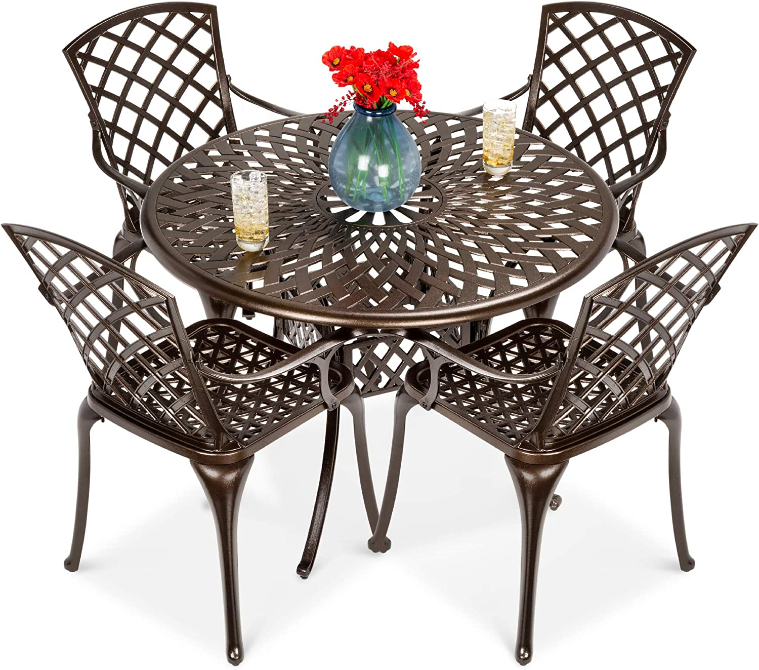 Amazon Com Best Choice Products 5 Piece All Weather Outdoor Cast Aluminum Dining Set For Patio Balcony Lawn Garden Backyard W 4 Chairs Umbrella Hole Lattice Weave Design Brown Garden Outdoor