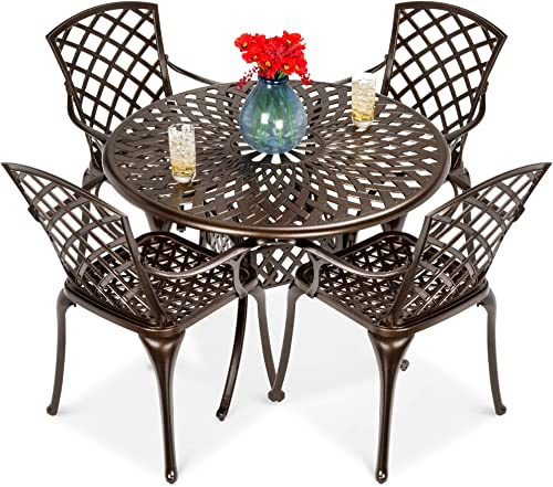 Best Choice Products 5-Piece All-Weather Outdoor Cast Aluminum Dining Set